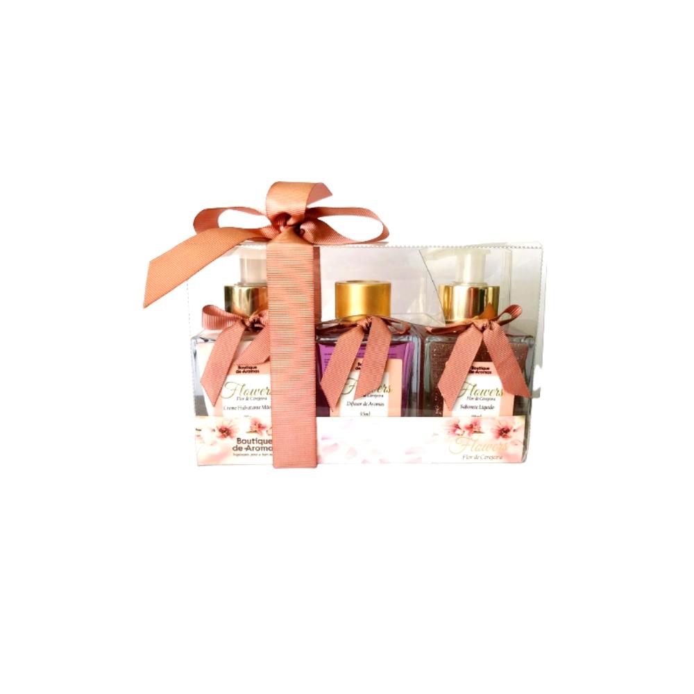Kit Flowers Flor de Cerejeira: Difusor de Aromas + Sabonete Líquido + Creme Hidratante para as Mãos - Bou Cosméticos