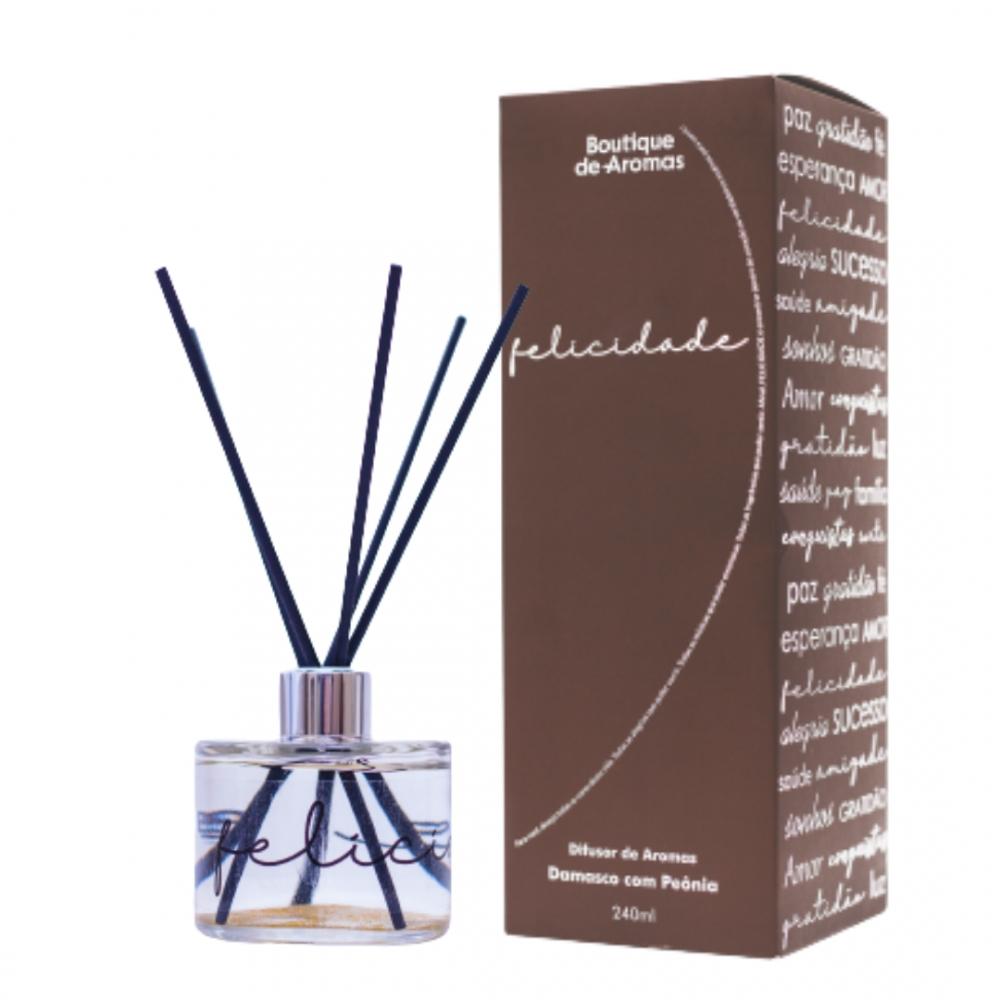 Difusor de Aromas Felicidade Damasco com Peônia 240ml - Boutique De Aromas